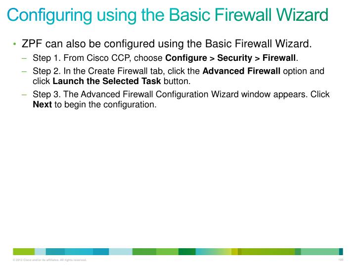 Configuring using the Basic Firewall Wizard