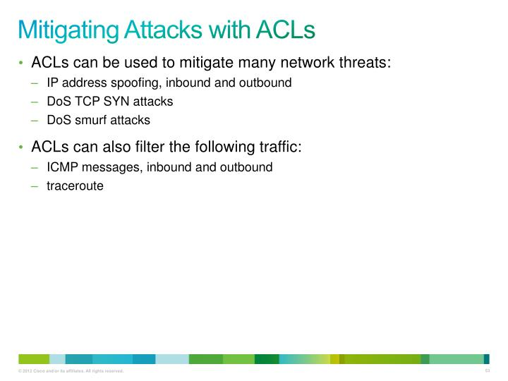 Mitigating Attacks with ACLs
