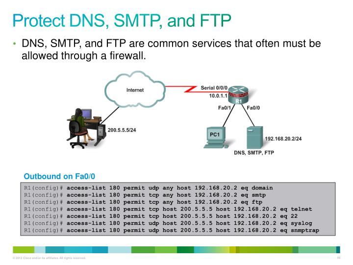Protect DNS, SMTP, and FTP