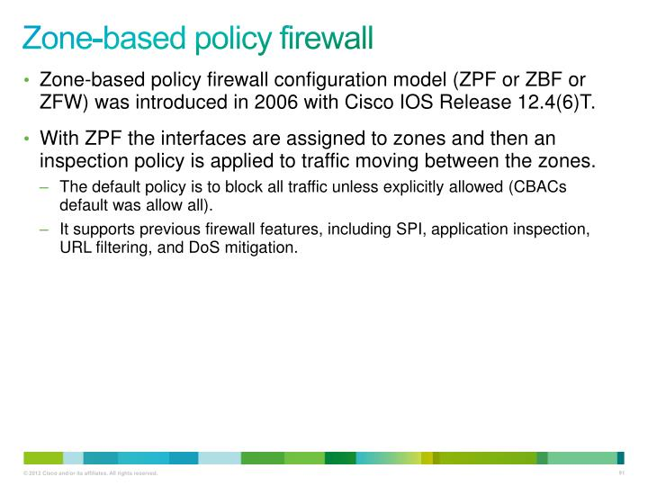 Zone-based policy firewall