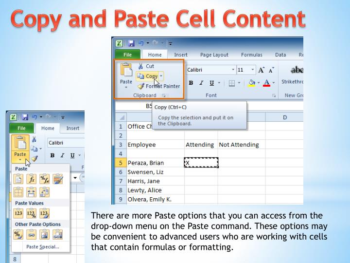 Copy and Paste Cell Content