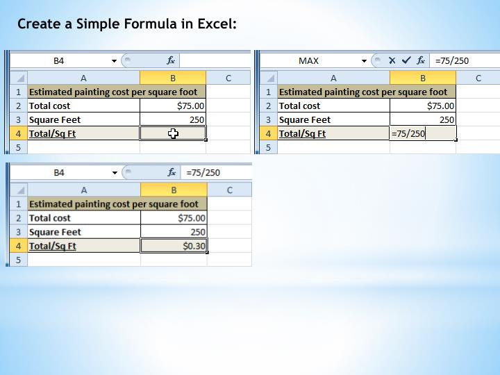 Create a Simple Formula in Excel: