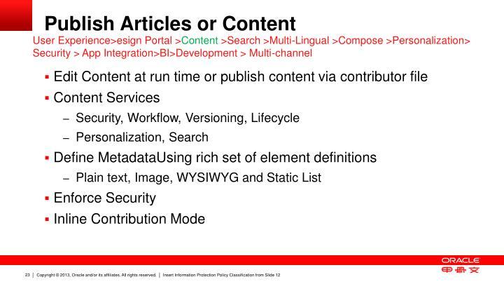 Publish Articles or Content