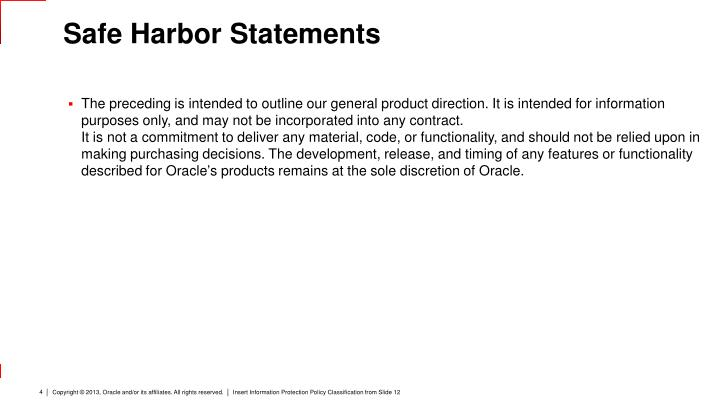 Safe Harbor Statements
