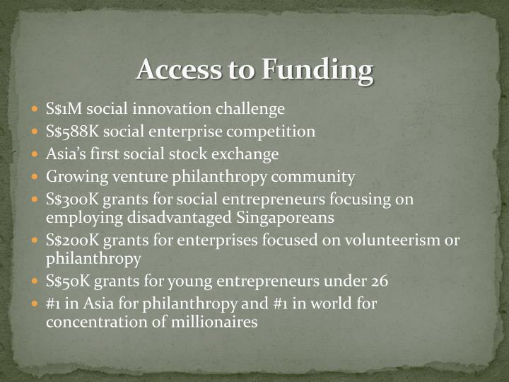 Access to Funding