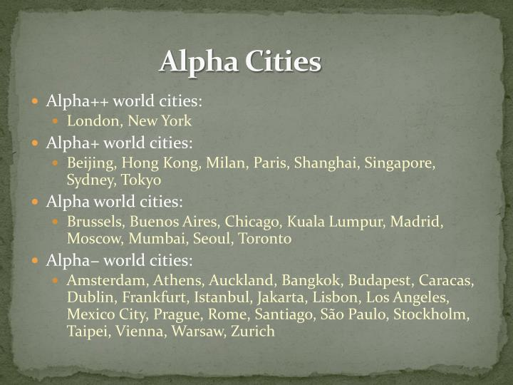 Alpha Cities