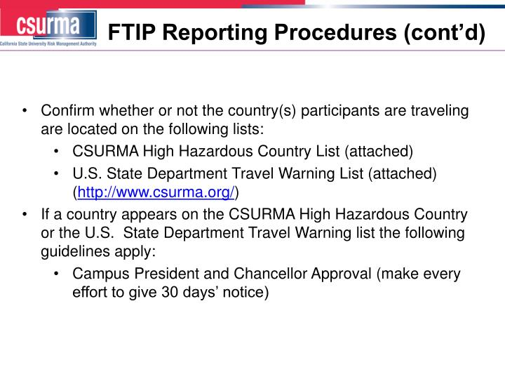 FTIP Reporting Procedures (cont'd)