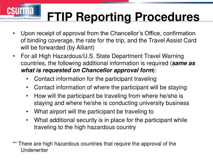 FTIP Reporting Procedures