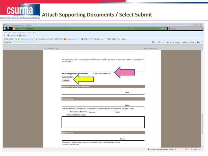 Attach Supporting Documents / Select