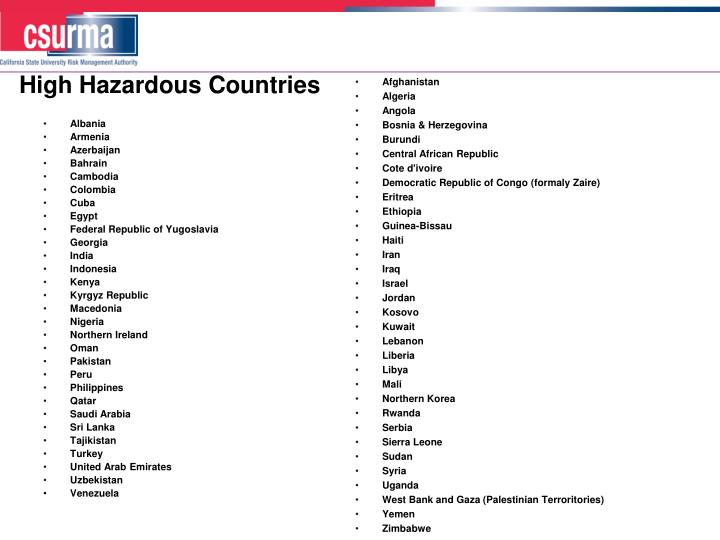 High Hazardous Countries