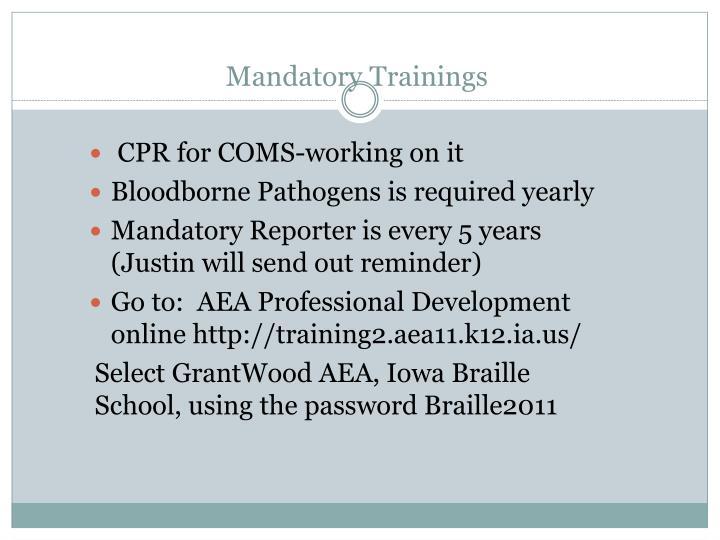Mandatory trainings