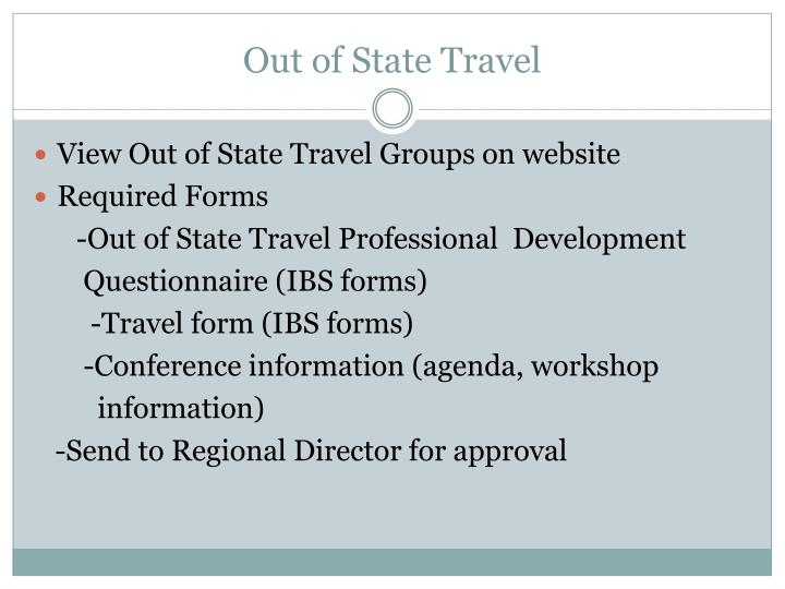 Out of State Travel