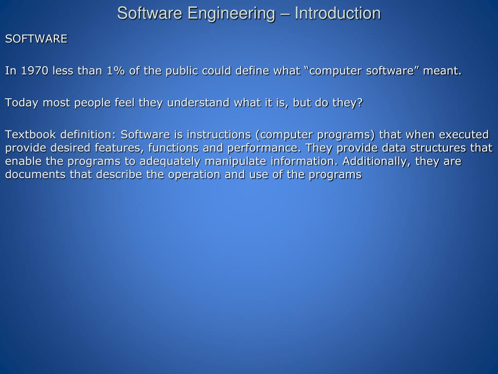 Software engineering presentation.