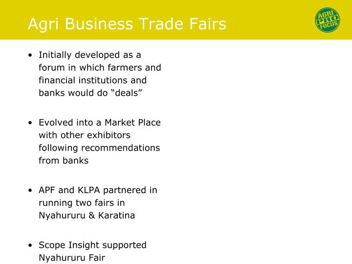 Agri business trade fairs