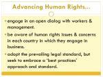 advancing human rights