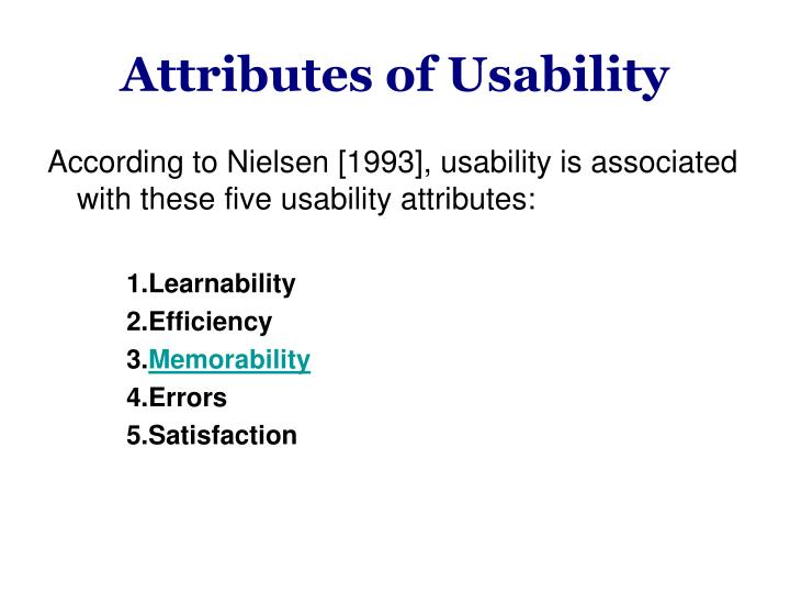 Attributes of Usability