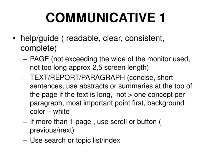COMMUNICATIVE 1