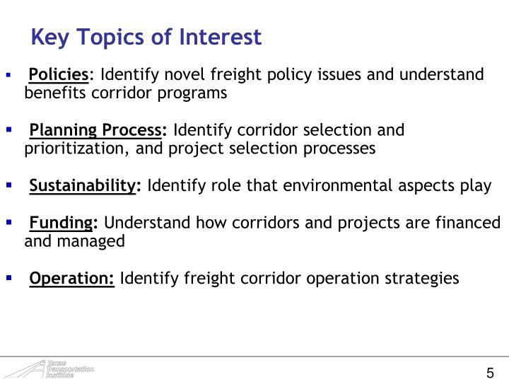 Key Topics of Interest