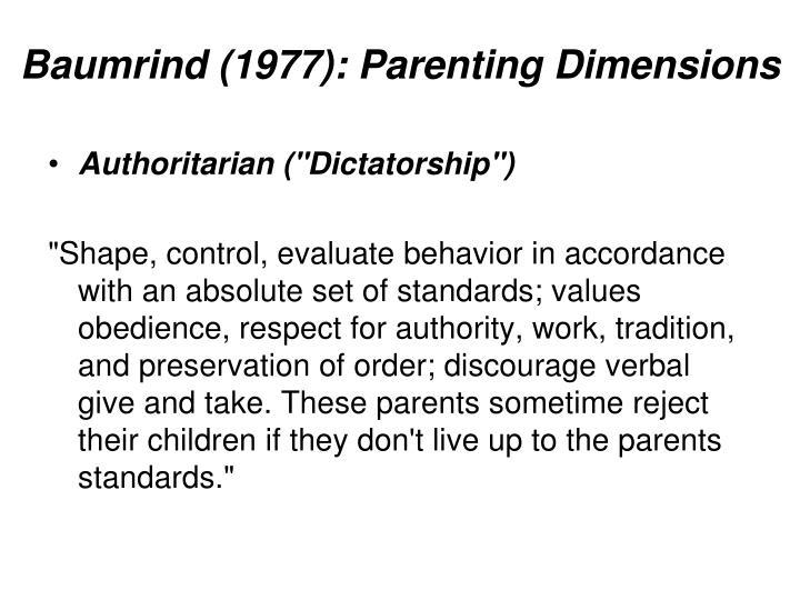 Baumrind 1977 parenting dimensions