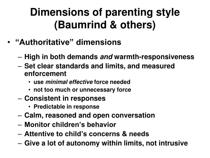 Dimensions of parenting style (Baumrind & others)