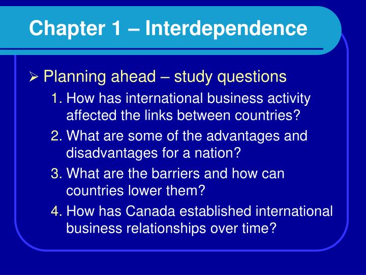 chapter 1 interdependence n.