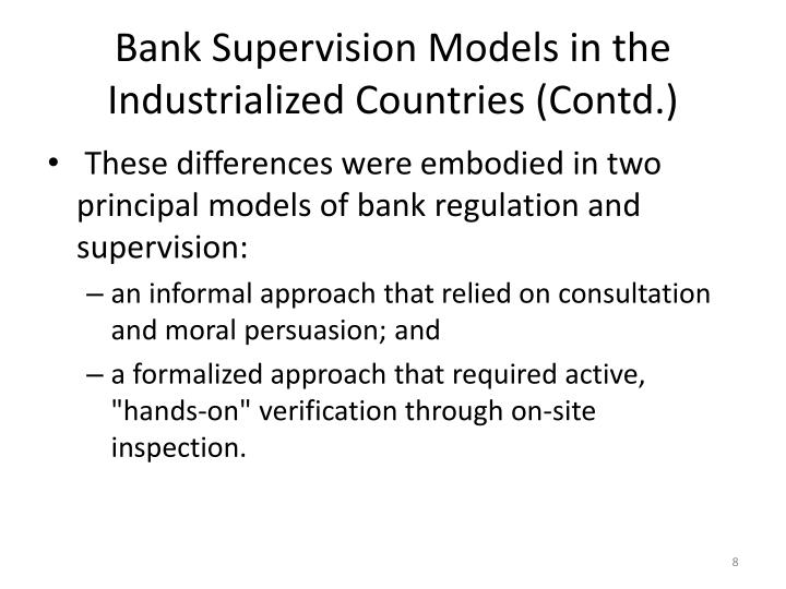 Bank Supervision Models in the Industrialized Countries (Contd.)