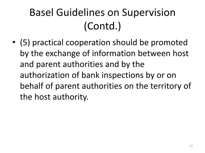 Basel Guidelines on Supervision (Contd.)