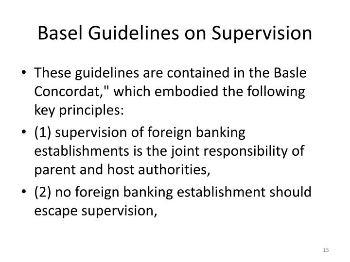 Basel Guidelines on Supervision