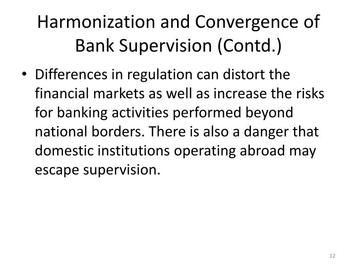 Harmonization and Convergence of Bank Supervision (Contd.)