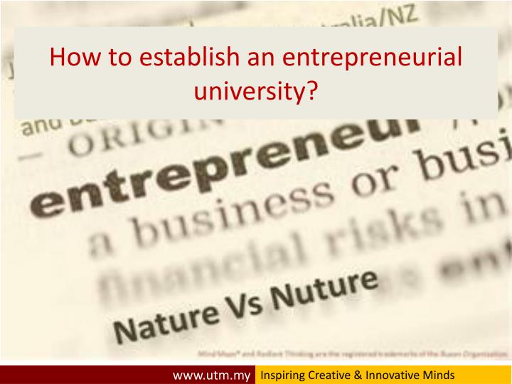 How to establish an entrepreneurial university?