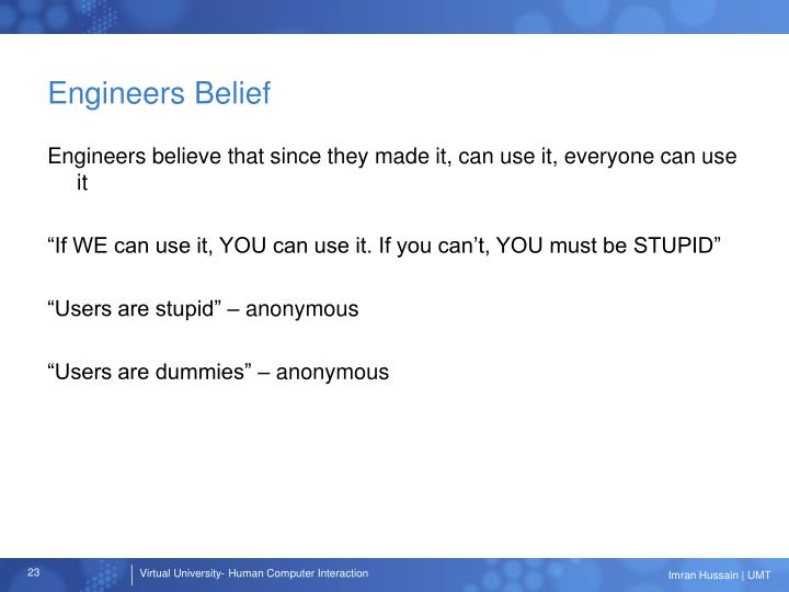 Engineers Belief