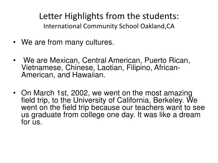 Letter highlights from the students international community school oakland ca
