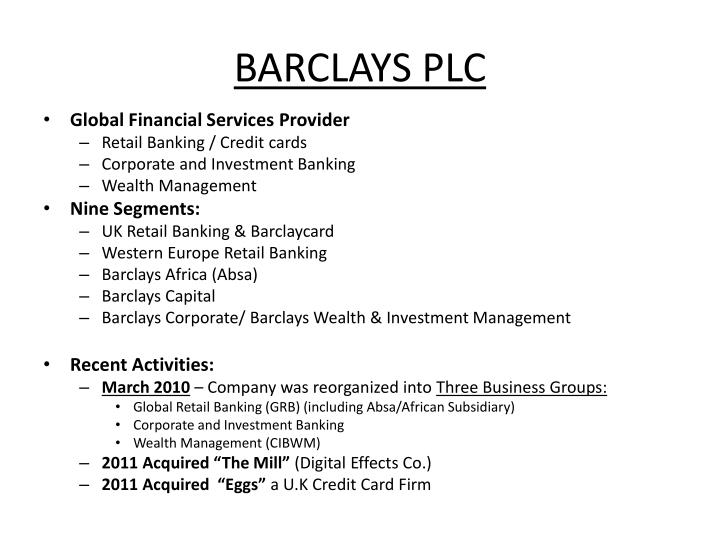 barclays bank five forces analysi of To analyse the industry situation, a pestle analysis includes political, economic, sociological, technological, legal & environmental factors.