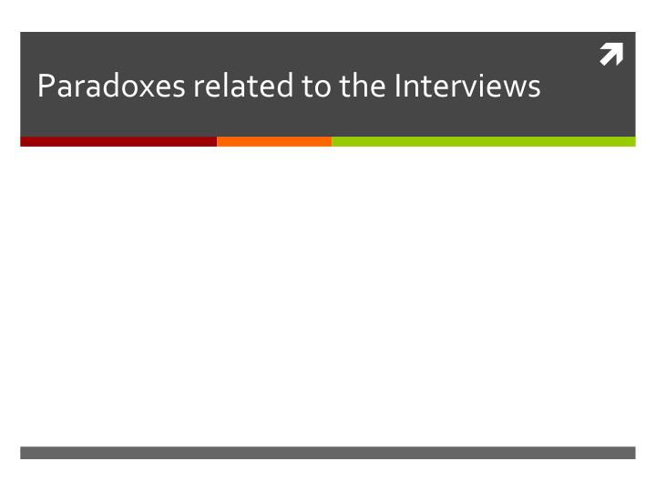 Paradoxes related to the Interviews