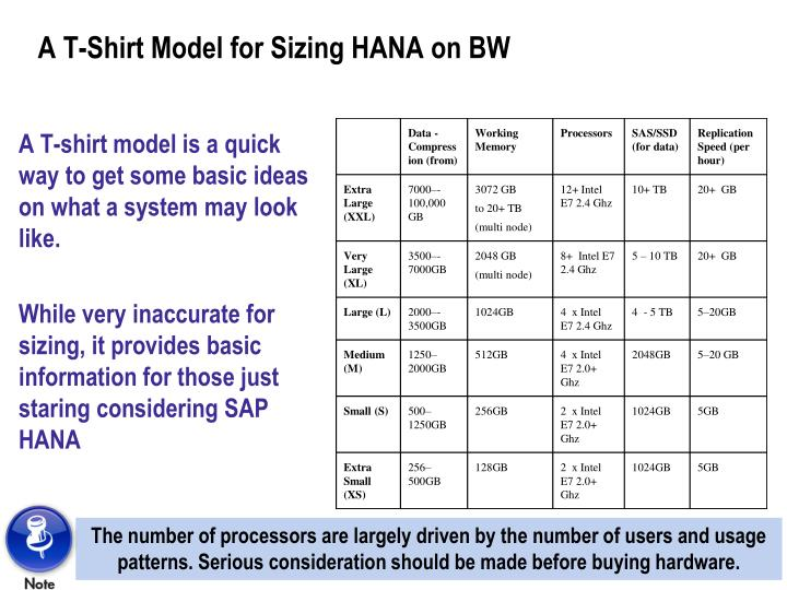 A T-Shirt Model for Sizing HANA on BW