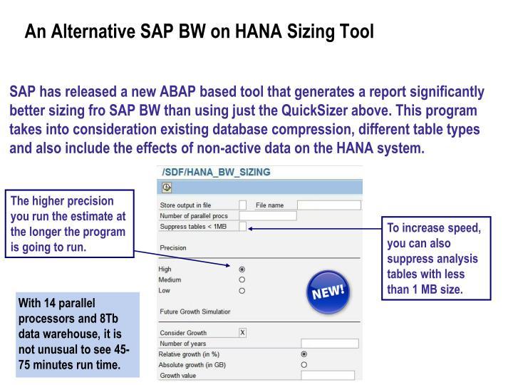 An alternative sap bw on hana sizing tool