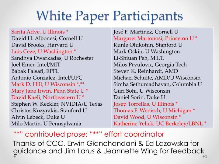 White paper participants