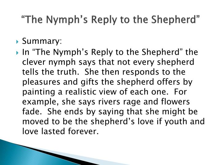 the nymphs reply to the shepherd questions and answers