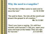 why the need to evangelise