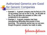 authorized generics are good for generic companies