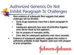 authorized generics do not inhibit paragraph iv challenges1
