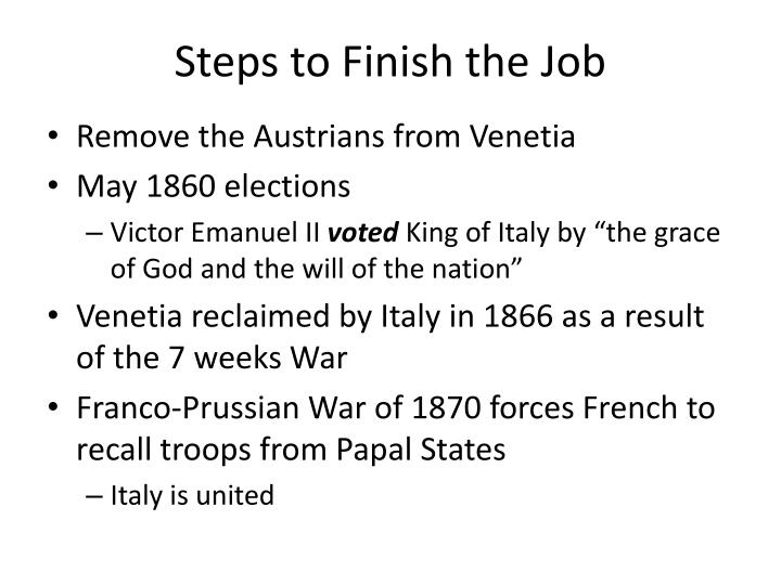 Steps to Finish the Job