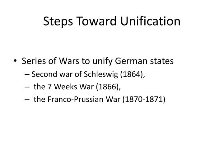 Steps Toward Unification