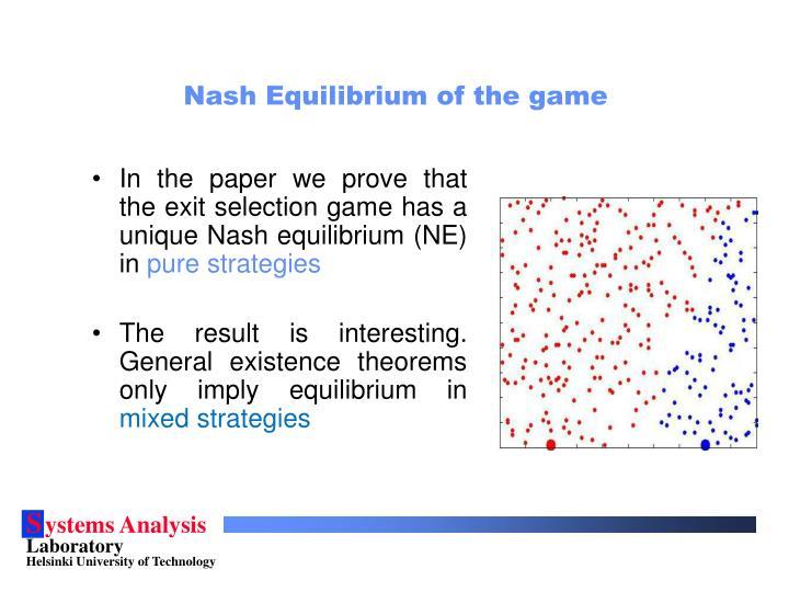 Nash Equilibrium of the game