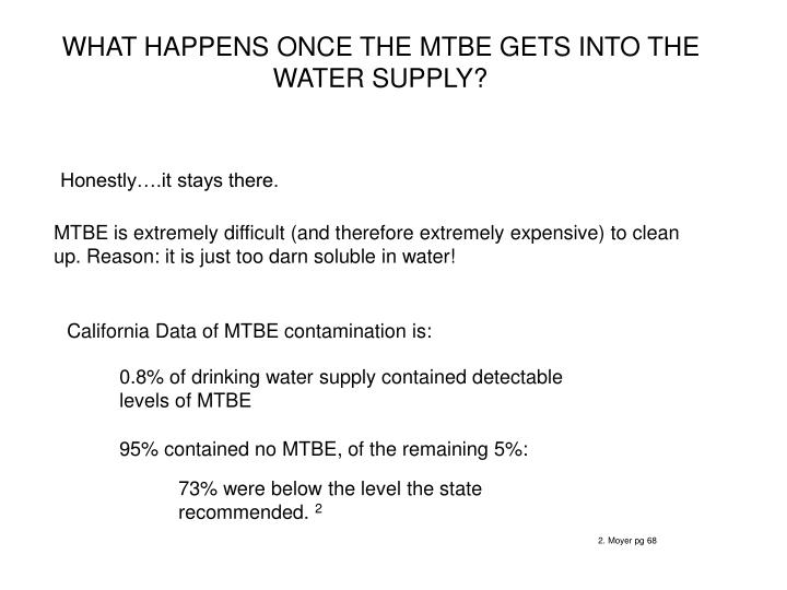 WHAT HAPPENS ONCE THE MTBE GETS INTO THE WATER SUPPLY?