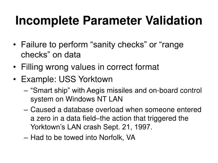 Incomplete Parameter Validation
