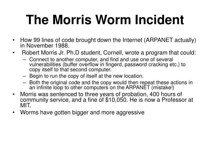 The Morris Worm Incident