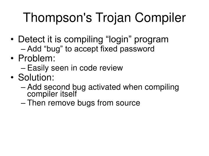 Thompson's Trojan Compiler