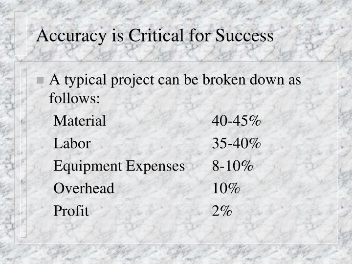 Accuracy is Critical for Success