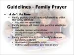 guidelines family prayer